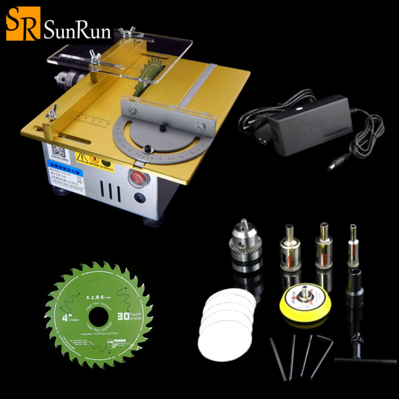 Multifunction Mini Table Saw Handmade Woodworking Bench Lathe Electric Polisher Grinder DIY Model Cutting Saw 7000RPM B12 Chuck mini hobby table saw woodworking bench saw diy handmade model crafts cutting tool with power supply hss 60mm circular saw blade
