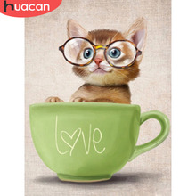 Huacan Official Store Diamond Embroidery Cat Full Set Animal Mosaic Rhinestones Pictures Hobbies