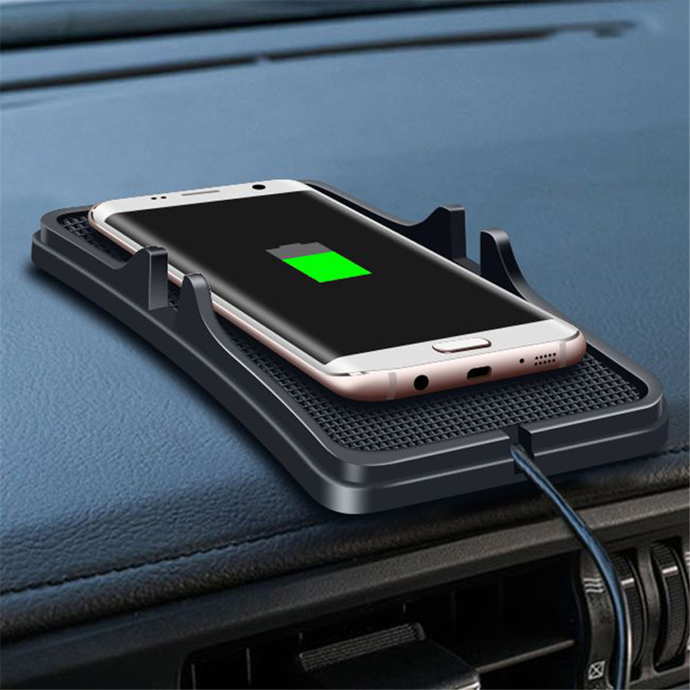 Universal Qi Wireless Car Charger For Iphone X XS MAX Quick Charge No-Slip Silicone Mat Dashboard Holder For Xiaomi Roidmi 3s