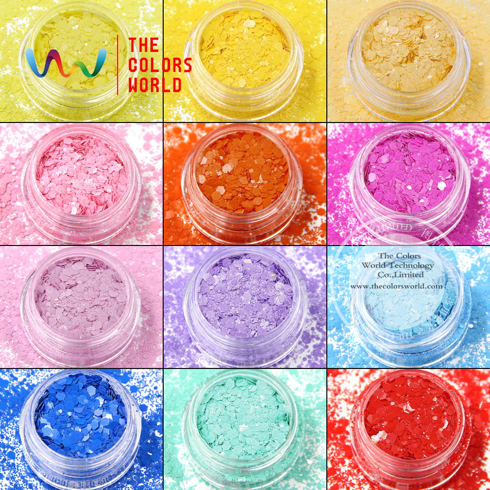 TCT-025 Mix Kleur Hexagon Vormen Oplosmiddelbestendig Glitter ForNagel Art Decoratie Nail Gel Nagellak Make En DIY Decoratie