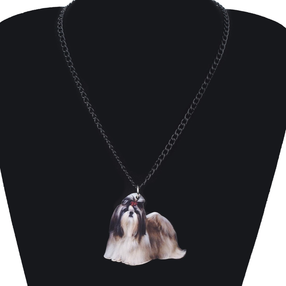 Weveni Acrylic Anime Elegant Chinese Shih Tzu Dog Necklace Pendant