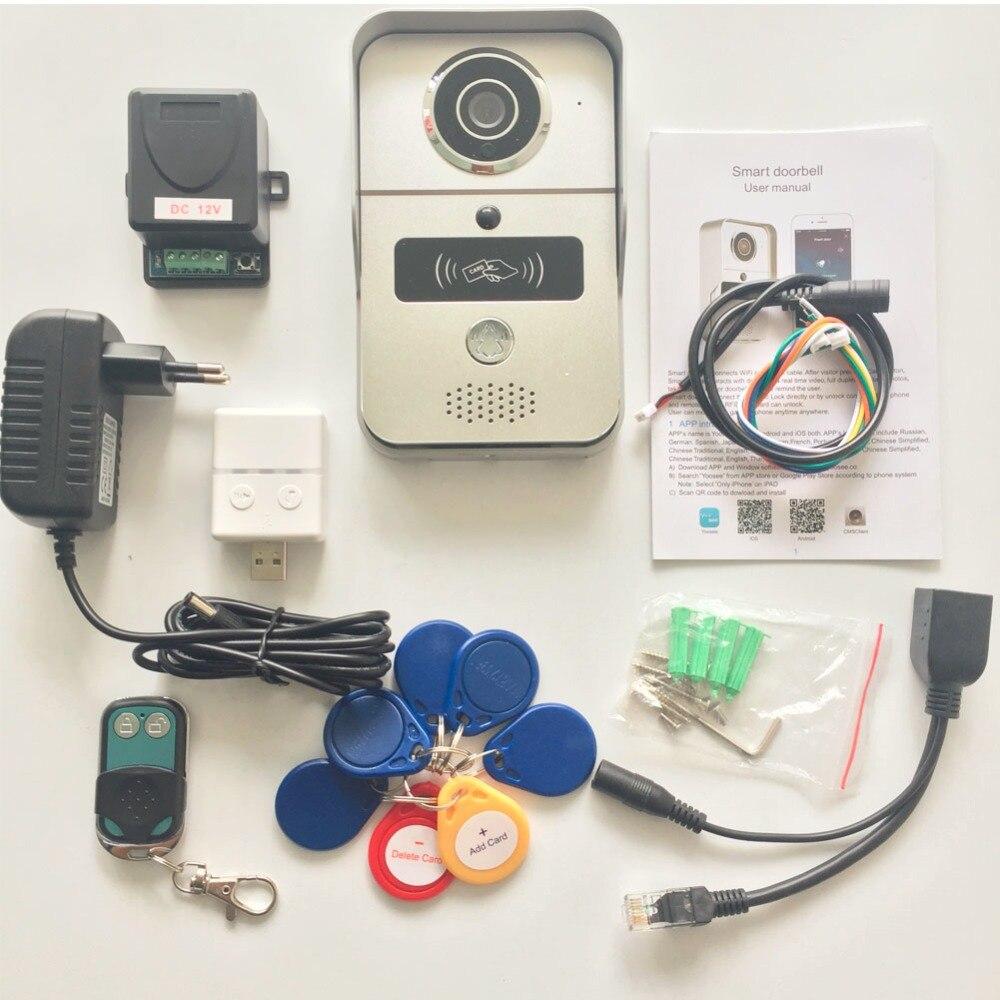 Wifi vidéo porte téléphone sonnette Sans Fil Interphone Soutien IOS Android RFID Keyfob Accès Vidéo Porte Téléphone Interphone + Cloche