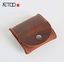 AETOO Handmade Retro Mens Short Mini Purse Wallets Kids Gloves Coins Packs Genuine Leather