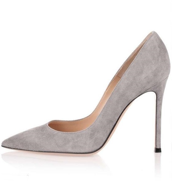 <font><b>Top</b></font> <font><b>Quality</b></font> Gray Suede <font><b>High</b></font> <font><b>Heel</b></font> <font><b>Pumps</b></font> Pointed Toe Slip-on <font><b>Women</b></font> Party Dress <font><b>Shoes</b></font> <font><b>Sexy</b></font> <font><b>2018</b></font> <font><b>Women</b></font> <font><b>High</b></font> <font><b>Heels</b></font> <font><b>Shoes</b></font> Size 10 image