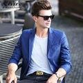 2017 Мужчины Blazer Куртки Весна Досуг Бизнес Пиджаки Пром Ночной Клуб Одежда Slim Fashion Party Синий