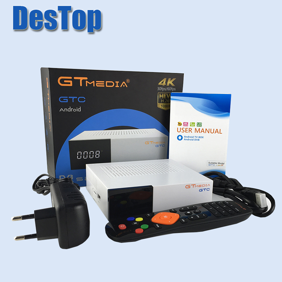 Gtmedia GTC 4K Android tv box DVB C kabel Youtube DVB S2 DVB T2 Bluetooth 4.0 receptora odbiornik satelitarny tuner tv Biss VU w Satelitarny odbiornik TV od Elektronika użytkowa na  Grupa 1