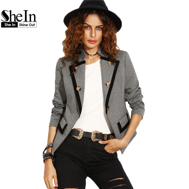 Online kaufen gro handel damen grau blazer aus china damen for Shein frauen mode