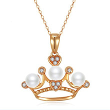 Real 18K Gold Crown Pendants 5mm Natural Freshwater Pearl Necklace 2018 New Brand Fashion Women Accessories Wholesale