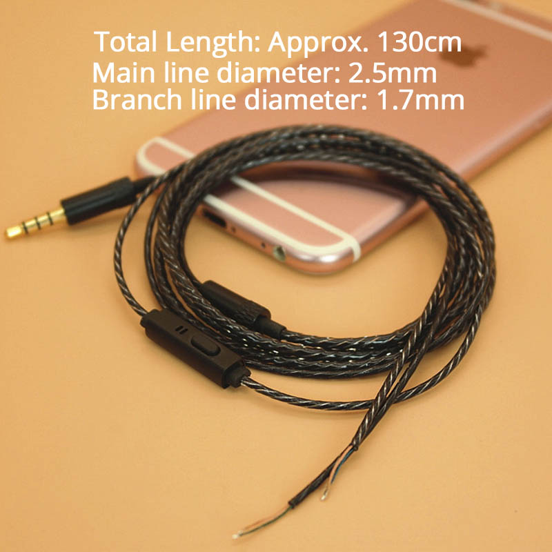 3.5mm DIY Earphone Replacement Cable With Mic Earphone Upgraded Cable for Xiaomi Huawei iPhone Phone Earphone Upgraded Cable