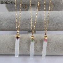 BOROSA Jewelry Design 5PCS Rectangle Gild Selenite Stone With Natural Amethysts Pink Green Tourmaline Pendant Necklace G1805