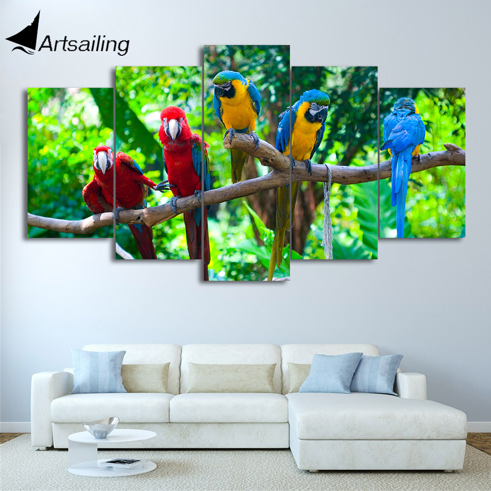 HD Printed 5 Piece Canvas Art Parrot On the Branch Painting Color Feather Wall Pictures for Living Room Free Shipping NY-7153C