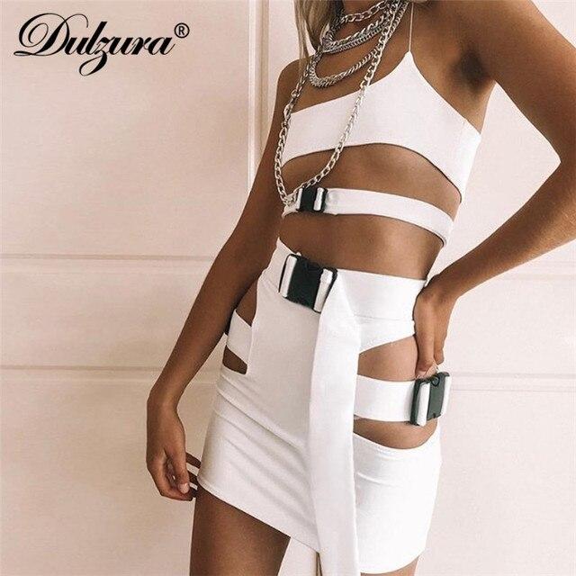 b6c0d3c51024c Dulzura women sexy buckle hollow out sleeveless camis crop tank top high  waist mini skirt 2