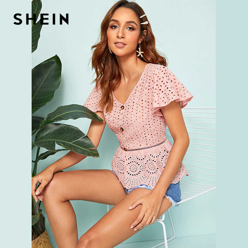 8eb1108402 Detail Feedback Questions about SHEIN Pink Butterfly Sleeve Button Front  Peplum Schiffy Top V Neck Blouse Women 2019 Summer Solid Eyelet Embroidery  Boho ...