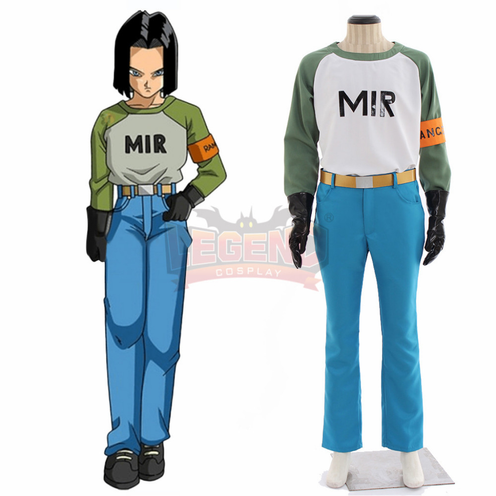 Anime Dragonball No.17 Lapis Android 17 cosplay costume full set adult costume all size