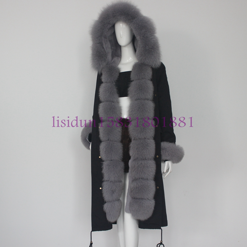 Cheveux Longs 2018 De Renard Fourrure Parker Vêtements Robe Fourrure Loutre Doublure Manteau Femmes Manteau Nouveau Et Lapin 8wUzr8q