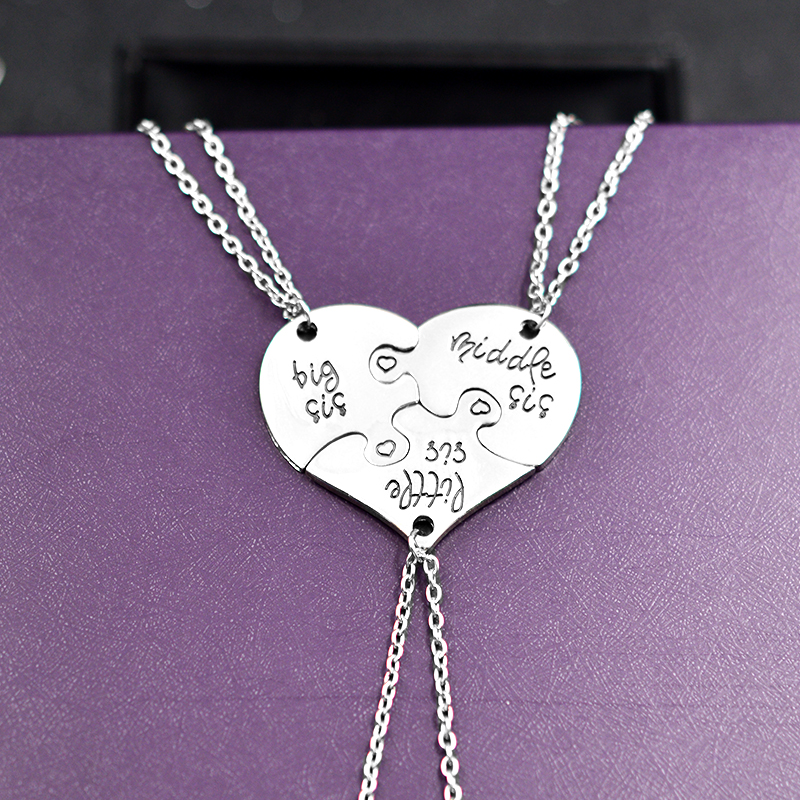 QIHE JEWELRY 3 Piece Heart Personlig stor sis middle sis little sis 3 - Mode smykker - Foto 2
