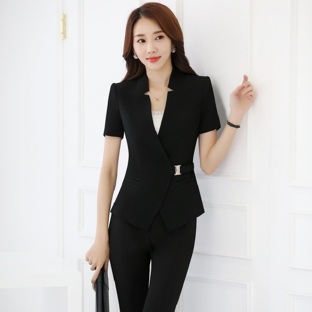 2e6b296dfd82e Plus Size 4XL Formal Professional Business Women Suits With Jackets And Pants  Trousers Sets Summer Blazers