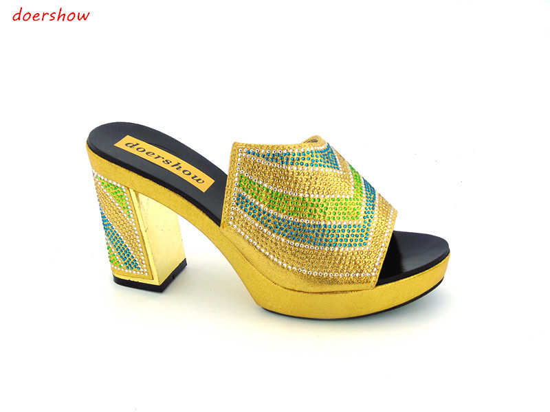doershow Good Quality African Rhinestones Wedding Shoes Beauty African Shoes Pumps On Promotion  ! JK1-34