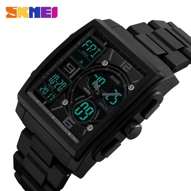 SKMEI montres de sport créatives hommes en acier inoxydable maille mode horloge mâle Top marque de luxe montre numérique Relogio Masculino 1274