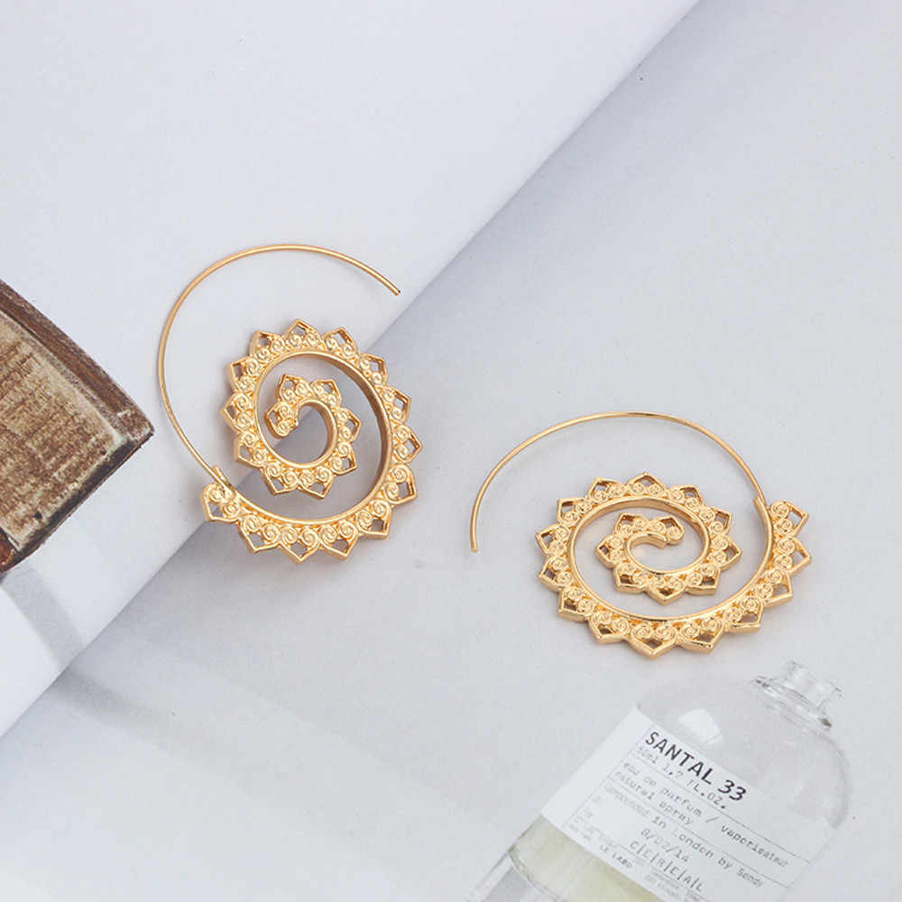 Moda jóias feminino vintage espiral coração liga balançar brinco charme único feminino festa brincos feminino acessórios presentes ouro