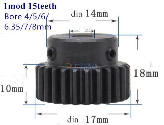 Engrenage droit 1 mod 15t 20t 25T métal moteur patron vitesse trou intérieur 5-8mm crémaillère 45 acier engrenage positif CNC crémaillère