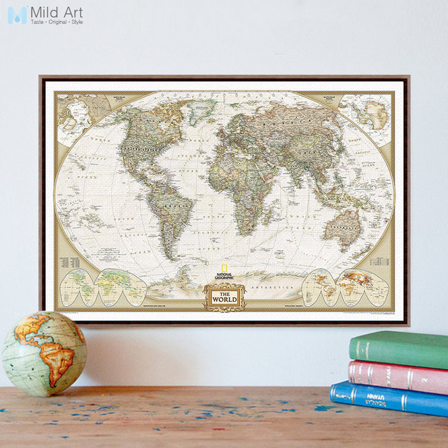 Vintage retro geography world map a4 large art print poster shabby vintage retro geography world map a4 large art print poster shabby chic wall picture canvas painting gumiabroncs Images