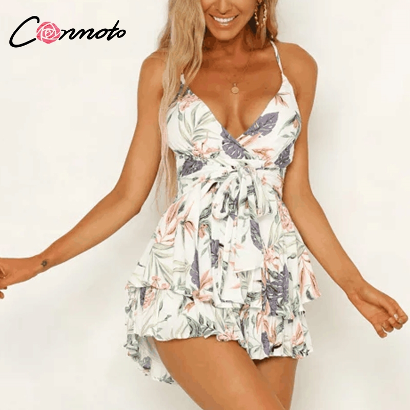 Conmoto Sexy Boho Floral Print Rompers Women 2019 Summer Backless Spaghetti Short   Jumpsuit   Casual Holiday Beach   Jumpsuit