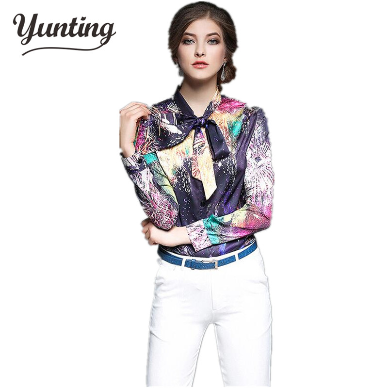 2017 Spring New Fashion European Style Elegant Vintage Long Sleeve Shirt Top Quality Silk Chiffon Print