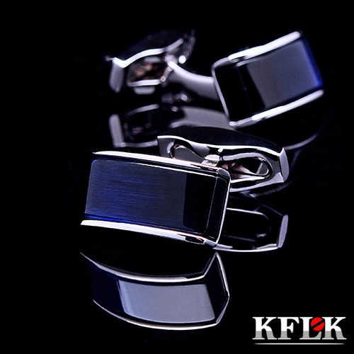 Marca De Luxo 2019 Nova camisa KFLK abotoaduras para mens cuff botões azul gradiente de Preto gemelos abotoaduras Jóias de Alta Qualidade