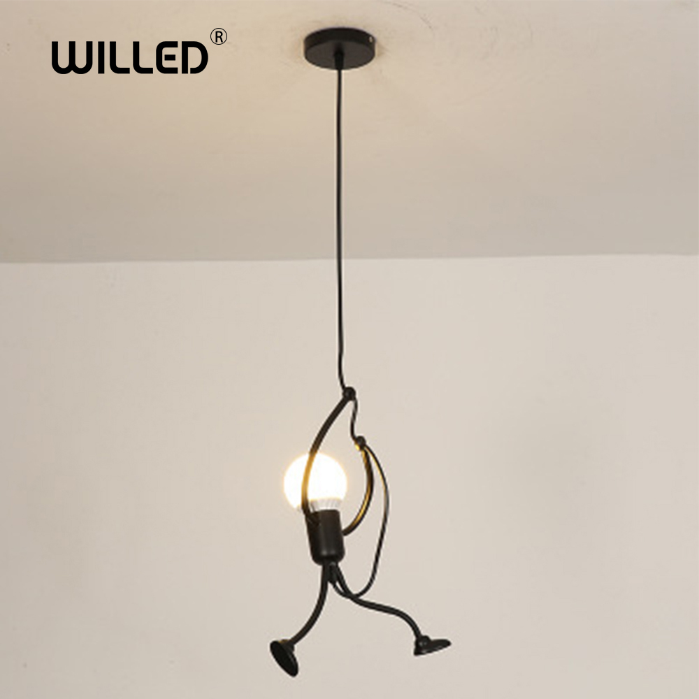 Loft Nordic Pendant Lights Hanging Lamp Hanglamp Creative Little Man Climbing Hanger Children's Light Metal Lamps Freeshipping