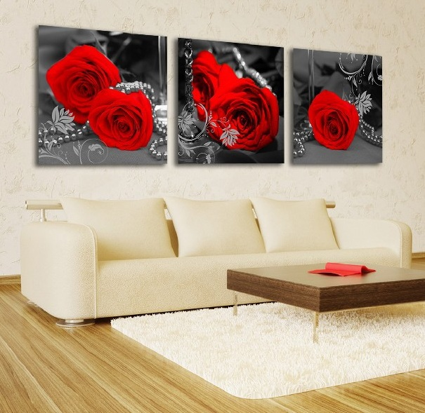 Framed art red rose painting pictures canvas prints Home Decoration ...