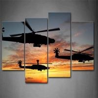 المروحيات تحلق في السماء غروب الوهج طائرات اللوحة الصورة المطبوعة على قماش جدار الفن صور ل ديكور المنزل الديكور