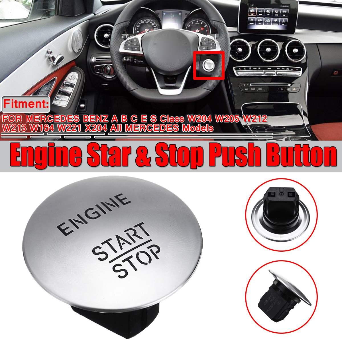 New Silver/Red Car Engine Start Stop Push Button Switch Keyless For Mercedes For Benz Model W164 W205 W212 W213 W164 W221 X204