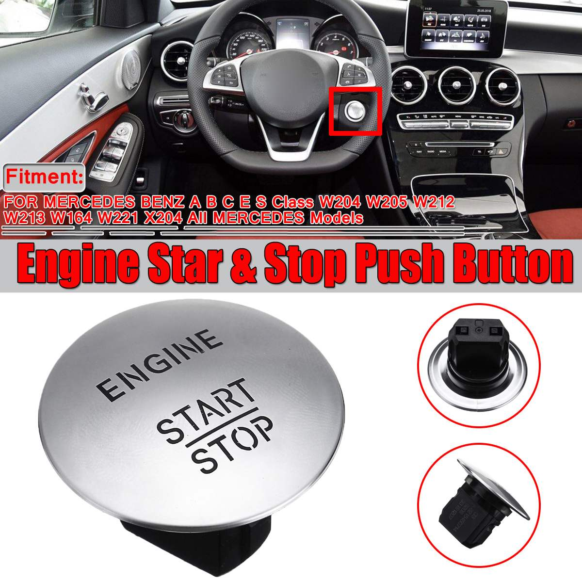 New Silver/Red Car Engine Start Stop Push Button Switch Keyless For <font><b>Mercedes</b></font> For Benz Model W164 W205 <font><b>W212</b></font> W213 W164 W221 X204 image