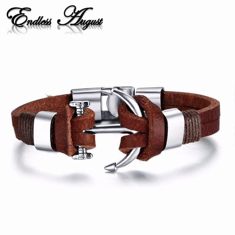 دستبند لنگر استیل ضد زنگ آلیاژ سبک جدید دزدان دریایی بی پایان مردانه دستبند چرمی دستبند چرمی اصل گاو