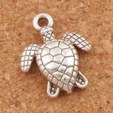 Cute Turtle Tortoise Animal Spacer Charm Beads 15.9x12.5mm 45pcs Antique Silver Pendants Jewelry DIY L1176