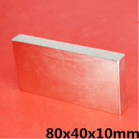1pc Super Strong 80 x 40 x 10 mm Block Bar Magnets Rare Earth Neodymium N35 Permanent magnet Square magnet