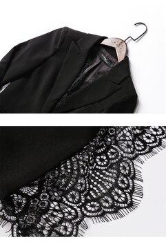 Giacca Di Pizzo Nero | Casual Solido Donne Vestito Con Pantaloni Intaglio Del Merletto Del Collare Giacca Sportiva Giacca E Pantaloni Della Matita Nero Femmina Vestito Di Autunno 2 Pezzi Set Per Delle Donne