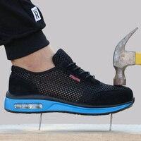2019 защитная обувь дышащая защитная обувь Для мужчин легкие ботинки со стальным носком; Рабочая обувь пирсинг работы одинарный, сетчатый кро...