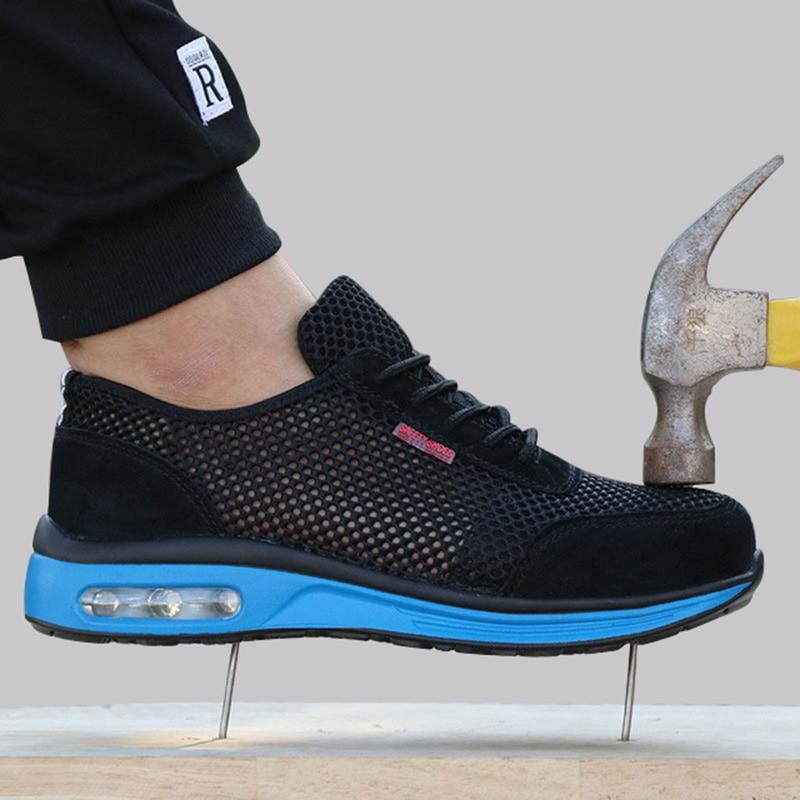 2019 Sapatos de Proteção Respirável Sapatos Leves dos homens Biqueira de Aço de Segurança Sapatos Anti-esmagamento Piercing Trabalho Único Tênis de Malha
