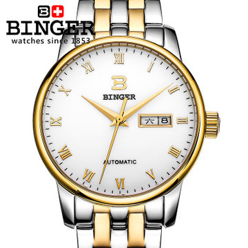 2017 new full steel Automatic watch Binger casual fashion wristwatch with gold calendar man business hours clock relogio reloj