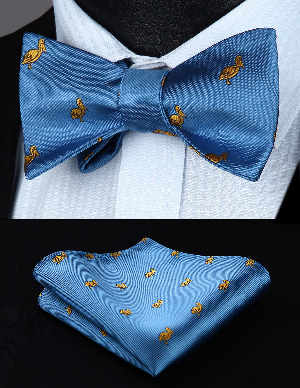 BGA03BS Animal Pattern Light Blue Wedding Bowtie Men Silk Self Bow Tie Handkerchief Set