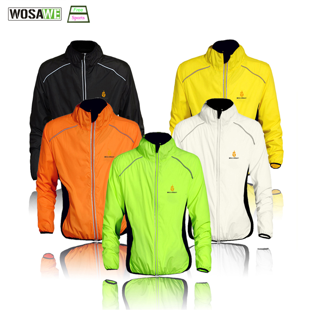 WOSAWE Cycling Windbreaker Jacket Cycling Motocross Riding Outwear Lightweight Waterproof Coat MTB Bike Jersey Reflective Coat