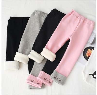 Girls Thicken Fleece Leggings Kids Cartoon Cat Embroidery Pants Childrens Trousers 2 3 4 6 8 Years Baby Girl Velvet Warm Pants