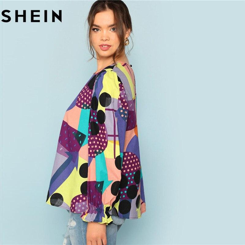 SHEIN Cotton Linen Multicolor Geometric Print Preppy Plus Size Women Blouses 2018 Fashion Long Raglan Sleeve Ruffle Cuff Top  2