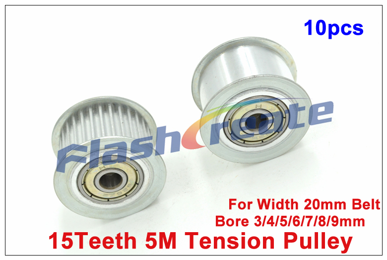 10pcs 15 Teeth 5M Idler Pulley Passive Pulley Bore 3 4 5 6 7 8 9mm
