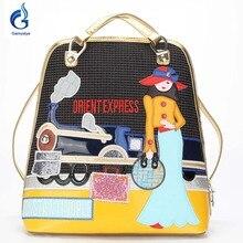 Gamystye Мода Холст Рюкзак женственный двойной сумки на плечо дизайнер школьные рюкзаки для девочек Сумка женская drient express