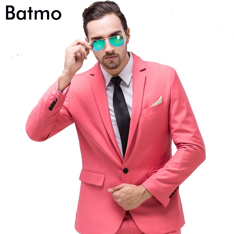 2017 New Arrival High Quality Weding Dress,one Button Casual Suit Men,pink Men's Business Suits, Plus-size S -4XL,10 Color