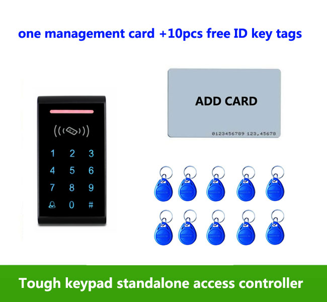 Touch Keypad Single Door Standalone Plastic Case 125KHz RFID Card Access Control ,1pcs management card, 10pcs ID tags,min:1pcs proximity rfid 125khz em id card access control keypad standalone access controler 2pcs mother card 10pcs id tags min 5pcs