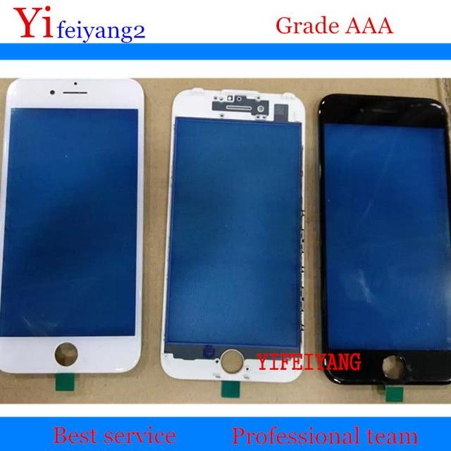 50 قطعة YIFEIYANG OEM الزجاج الخارجي الأمامي + الحافة ل iPhone 8 plus 7 6 6s plus 5s الزجاج الخارجي مع الإطار إصلاح lcd